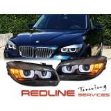 פנסים קידמיים BMW E84,X1,רקע שחור, DRL 2011-2015
