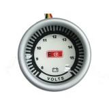 שעון מצבר דיגיטלי רקע לבן .תאורה לד כחול 52 ממ