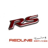 סמל RS כרום ניקל ,אדום לרוב סוגי הרכב,LOGO RS