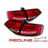 פנסים אחוריים שקופים עם לדים לאודי A4 סדאן 2008-2012 דגם חדש אדום לבן