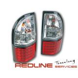 TY827-BORE2,TOYOTA PRADO TAIL LIGHT LED RED WHITE,פנסים אחוריים שקופים עם לדים לטויוטה פראדו FJ90,דגם אדום לבן