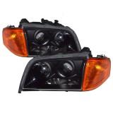 94-00 Benz W202 Black Projector Headlights Head Lights Pair Lamp